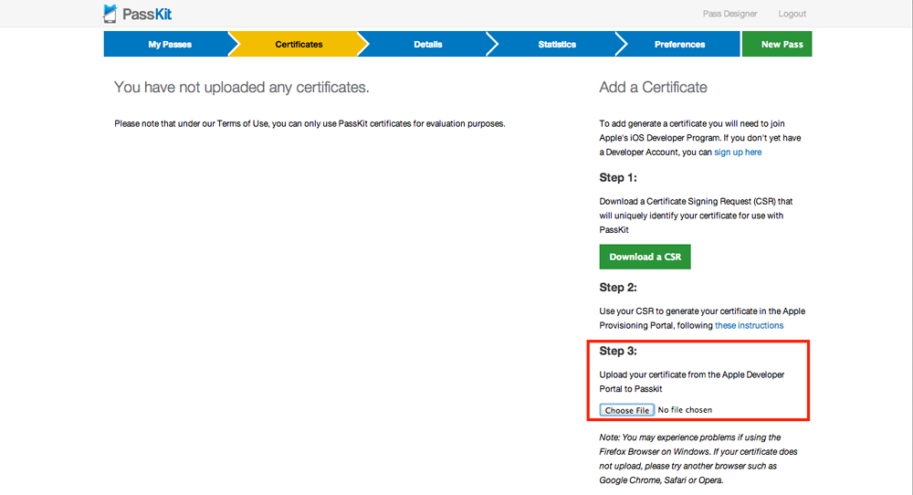 Upload your certificate to PassKit
